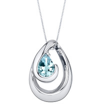 Aquamarine Sterling Silver Wave Pendant Necklace