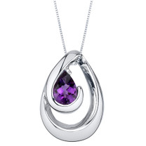 Amethyst Sterling Silver Wave Pendant Necklace