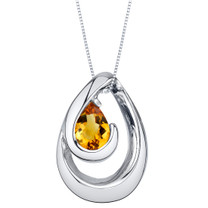 Citrine Sterling Silver Wave Pendant Necklace