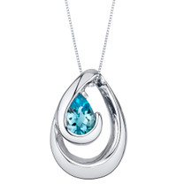 Swiss Blue Topaz Sterling Silver Wave Pendant Necklace