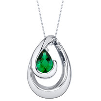 Simulated Emerald Sterling Silver Wave Pendant Necklace