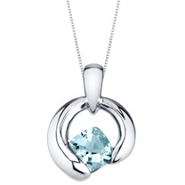 Aquamarine Cushion Cut Orbit Sterling Silver Pendant Necklace