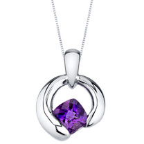 Amethyst Sterling Silver Cushion Cut Orbit Pendant Necklace