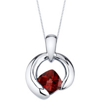 Garnet Sterling Silver Cushion Cut Orbit Pendant Necklace