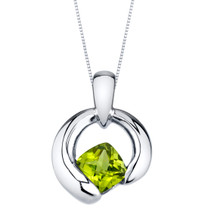 Peridot Sterling Silver Cushion Cut Orbit Pendant Necklace