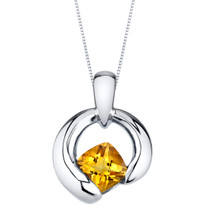 Citrine Sterling Silver Cushion Cut Orbit Pendant Necklace
