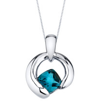 London Blue Topaz Sterling Silver Cushion Cut Orbit Pendant Necklace
