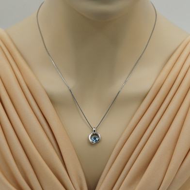 Swiss Blue Topaz Sterling Silver Cushion Cut Orbit Pendant Necklace