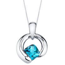 Swiss Blue Topaz Sterling Silver Cushion Cut Orbit Pendant Necklace