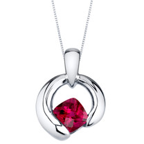 Created Ruby Sterling Silver Cushion Cut Orbit Pendant Necklace