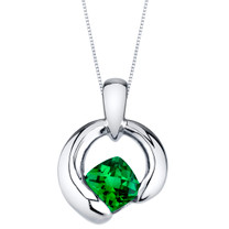 Simulated Emerald Sterling Silver Cushion Cut Orbit Pendant Necklace