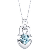 Aquamarine Sterling Silver Tumi Pendant Necklace