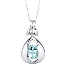 Aquamarine Sterling Silver Cascade Pendant Necklace