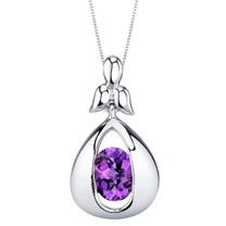 Amethyst Sterling Silver Cascade Pendant Necklace