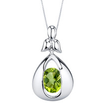 Peridot Sterling Silver Cascade Pendant Necklace