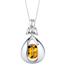Citrine Sterling Silver Cascade Pendant Necklace