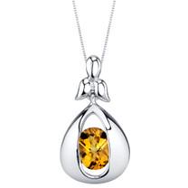 Citrine Sterling Silver Cascade Pendant Necklace