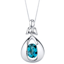 London Blue Topaz Sterling Silver Cascade Pendant Necklace
