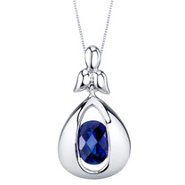 Created Sapphire Sterling Silver Cascade Pendant Necklace