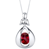 Created Ruby Sterling Silver Cascade Pendant Necklace