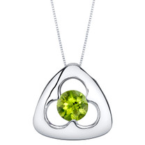Peridot Sterling Silver Trinity Knot Pendant Necklace