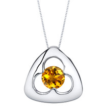 Citrine Sterling Silver Trinity Knot Pendant Necklace