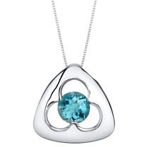 London Blue Topaz Sterling Silver Trinity Knot Pendant Necklace