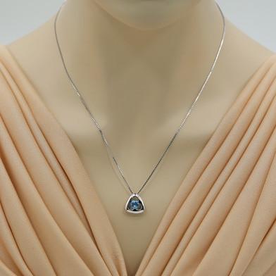 Swiss Blue Topaz Sterling Silver Trinity Knot Pendant Necklace
