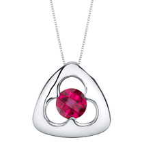 Created Ruby Sterling Silver Trinity Knot Pendant Necklace