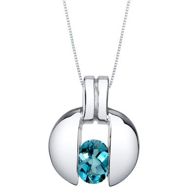 London Blue Topaz Sterling Silver Starship Pendant Necklace