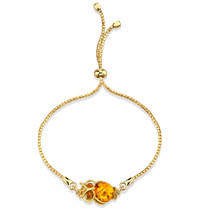 Baltic Amber Owl Gold-Tone Sterling Silver Bolo Adjustable Bracelet