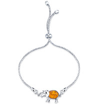 Baltic Amber Sterling Silver Elephant Adjustable Friendship Bracelet