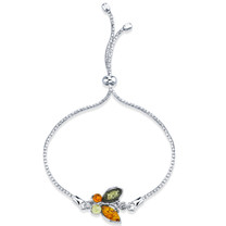 Baltic Amber Butterfly Sterling Silver Bolo Adjustable Bracelet