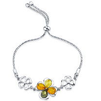 Baltic Amber Shamrock Sterling Silver Adjustable Friendship Bracelet