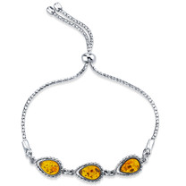 Baltic Amber Sterling Silver 3-Stone Adjustable Friendship Bracelet