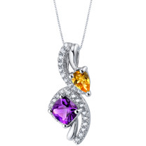 Amethyst and Citrine Sterling Silver Ellipse Pendant Necklace