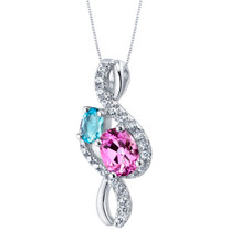Swiss Blue Topaz and Created Pink Sapphire Sterling Silver Chorus Pendant Necklace