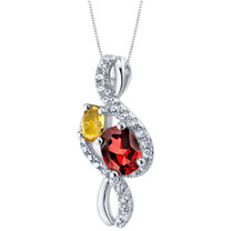 Garnet and Citrine Sterling Silver Chorus Pendant Necklace