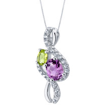 Amethyst and Peridot Sterling Silver Chorus Pendant Necklace