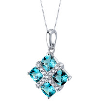 London Blue Topaz Quad Pendant Necklace in Sterling Silver