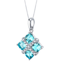 Swiss Blue Topaz Quad Pendant Necklace in Sterling Silver