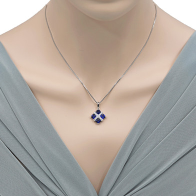 Created Blue Sapphire Quad Pendant Necklace in Sterling Silver