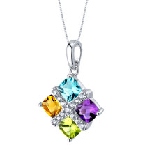 Amethyst Peridot Citrine Blue Topaz Quad Pendant Necklace in Sterling Silver