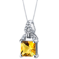 Citrine Sterling Silver Portico Pendant Necklace
