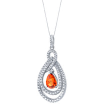 Tear Drop Created Padparadscha Sapphire Sterling Silver Glamour Pendant Necklace
