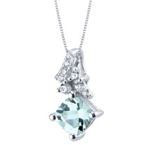 Aquamarine Sterling Silver Flair Pendant Necklace