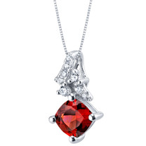 Garnet Sterling Silver Flair Pendant Necklace