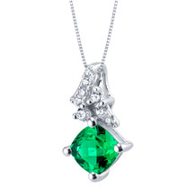 Simulated Emerald Sterling Silver Flair Pendant Necklace