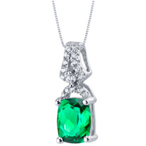 Simulated Emerald Sterling Silver Ritzy Pendant Necklace