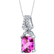 Created Pink Sapphire Sterling Silver Ritzy Pendant Necklace